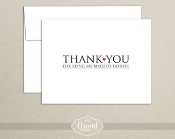 Maid of Honor Thank You Card - Thank You for Being My Maid of Honor - Wedding, Bridal Party Thank You - Custom Thank You Card with Envelope