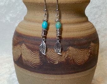 Native American Inspired Earrings - Boho Turquoise and Leaf Earrings - Turquoise and Silver Earrings - Boho Chic Gypsy Jewelry