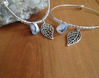 Tree Agate Silver Charm Bracelet