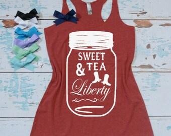 Sweet Tea & Liberty - Flowy Eco Tri-Blend Women's Tank Top. Sizes XS-XL. 4th of July Tank Top. Southern Pride T-Shirt.