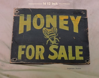 Bee Sign Honey For Sale Old Wood