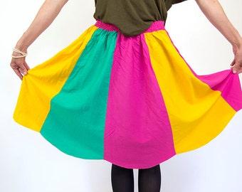 Colorblock skirt, vintage women skirt, 90s, summer fashion, festival wear, M