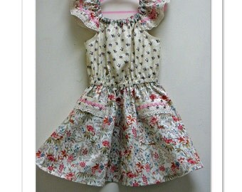 Girls dress pattern Peachy Dress & Playsuit sewing pattern girls dress, romper playsuit pdf sewing pattern sizes 2-14 yrs, 6 patterns in one
