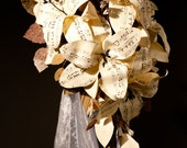 Sheet music wedding flowers Paper Lily cascade bouquet Paper flower teardrop bouquet