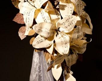 Sheet music wedding flowers Paper Lily cascade bouquet Paper flower teardrop bouquet