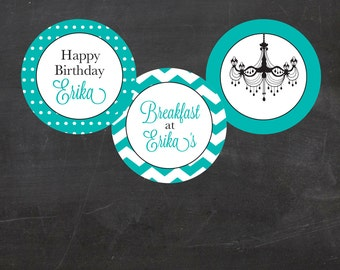 """Breakfast at Tiffany's Inspired Custom Printable  2"""" Party Cupcake Circles, Cupcake Toppers"""