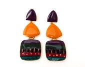 Vintage Long Drop Enamel Earrings, Boho Tribal Large Long Earrings Mustard Yellow Purple Green, Kitsch 1980's Earrings