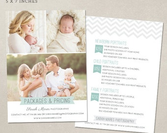 Photography Pricing Guide Package List - Marketing Board MP002 - Photoshop template INSTANT DOWNLOAD
