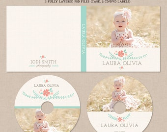 Dvd cd case template for photographers with 2 dvd labels - MD001