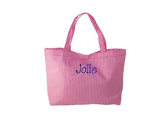 Gingham Tote Bags, Tote Bags, Pink Gingham Tote, Personalized Gingham,Tote Bag,  Purse, Handbag, Gingham Pink Tote with Free Embroidery