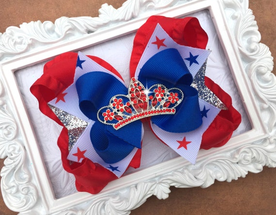 4th OF JULY PRINCESS Bows - Future Miss Usa - Star Spanged Cutie Bows - 4th of July Party - American Flag - Toddler, Infant, Big girls Bow