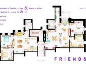 """IMPRESIÓN de los apartamentos de Monica-Rachel y Chandler-Joey Apartments de """"FRIENDS"""""""