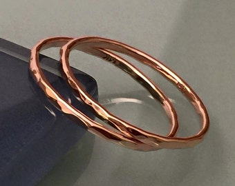 Solid Gold Stacking Rings, 14k Gold Rose Gold Band Rings, Hammered Wedding Band