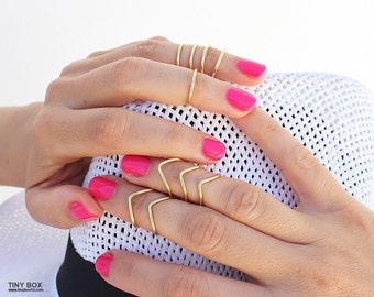 The KNUCKLE RING SET,Gold Knuckle Ring,Gold Ring,Midi Ring, Stackable Ring,Ring Set,Unique Gift for Her,Rings,Statement Ring,Stacking Ring