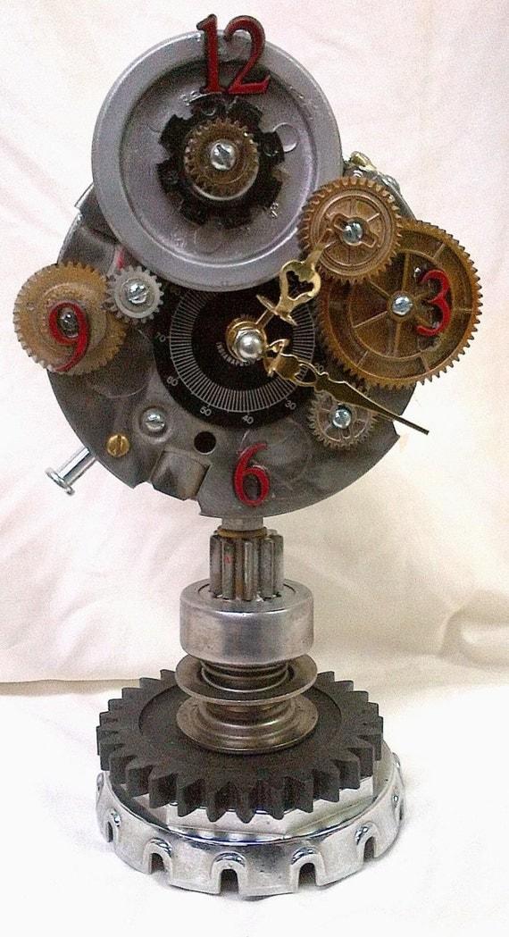 Repurposed gears desk clock handmade steampunk industrial - Steampunk mantle clock ...
