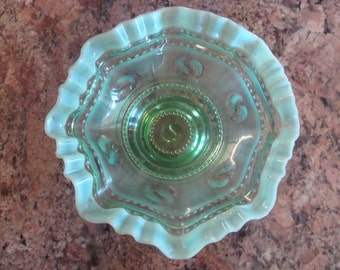Green Opalescent Ruffled Edge Astro Pattern Candy Dish/Bowl