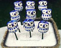 Tiny Owl Fairy Garden Accessory - Miniature Owl Fairy Garden Bird - Blue Owl