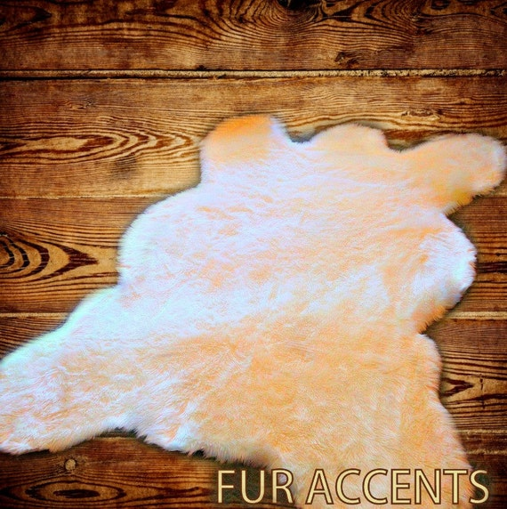 FUR ACCENTS Large Faux Fur Bear Skin Accent Rug / By