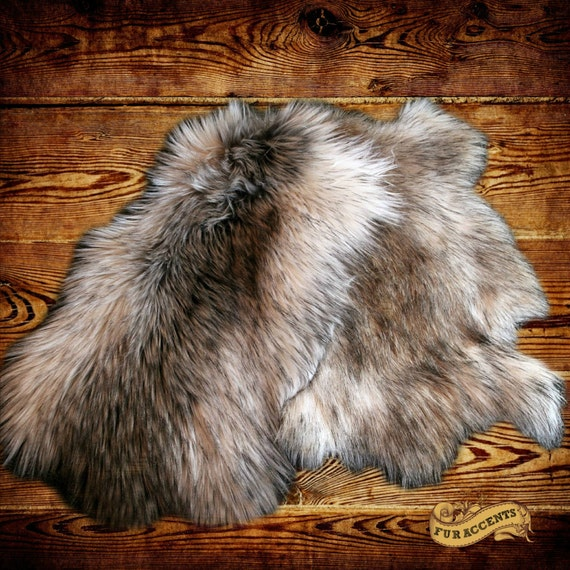 Fur Accents 2 Pcs Faux Fur Fake Rabbit Skin Pelts Soft