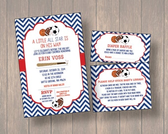 Baby Shower Invitation, DIY Baby Shower Invitation, Sports Theme Baby Shower,  All Star