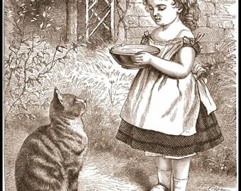 Art Print Cat and Girl Victorian 1868, Print 8 x 10