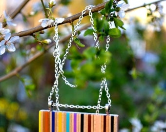 Necklace from colored pencils.