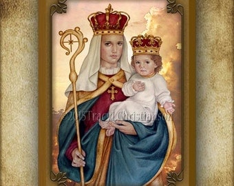 Our Lady of Good Success Wood Icon & Holy Card GIFT SET Plaque Blessed Virgin Mary #3204