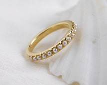 June Birthday. Small Pearl Half Eternity Ring. Simple Modern Jewelry by PetitBlue