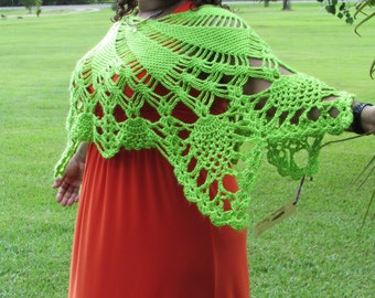 Crochet Poncho - Light Green Crochet Poncho - Women's Poncho - Teen Crochet Poncho - Crochet Cover-up