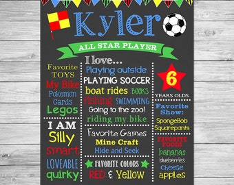 Soccer Birthday Chalkboard Poster of Favorite Things Printable- Birthday Chalkboard Sign
