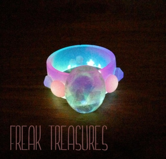 Unicorn Glow In The Dark Resin Ring 19mm By Freaktreasures