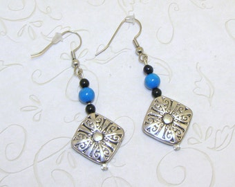 Silvertone Earrings With Turquoise Blue And Black Beaded Earrings