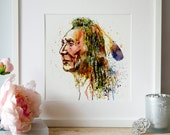 Native American Warrior Watercolor painting Wall art Contemporary art For the room Indian decor Pintable art Aquarelle Watercolor indian