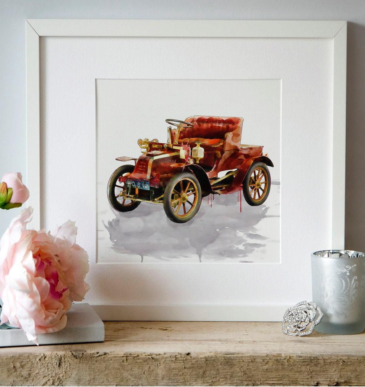 Vintage Car Watercolor Paintings