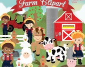 Farm Clipart, Farm Animals Clipart, Barnyard Clipart, Farm Clip art - For Personal and Commercial Use - Instant Download