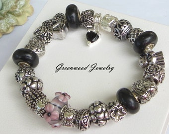 Mauve - European Style Charm Bracelet - Lampwork Glass And Crystal Beads and Charms