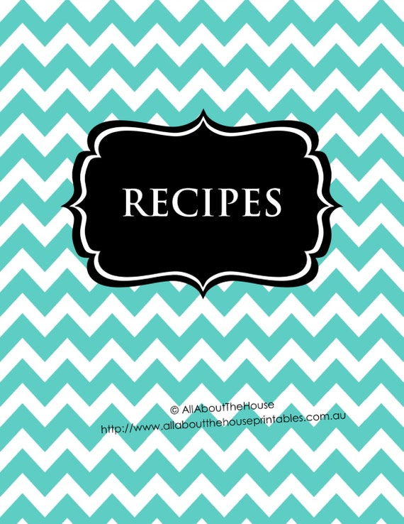 Editable Recipe Binder Printable Aqua Black Recipe Sheet Recipe