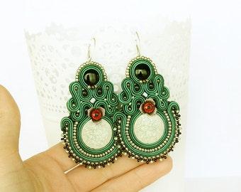 Emerald dangle aerrings green Large Statement earrings Long soutache earrings Embroidered earrings Dangle earrings green accessory