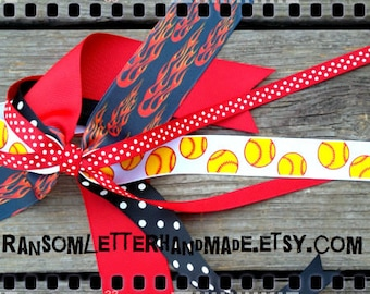 Black and Red Flames Softball Pony Bow Fire Ribbon Pony Tail Streamers Fire Ribbon Racing Flames