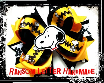 Snoopy Hair Bow Yellow and Black Dog Ribbon Girls Birthday Party Halloween Costume Charlie Brown Shirt Movie Feltie Dress