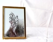 Gold Accented Black and White Pen and Ink Illuminated Flower Sketch Illustration in Gold Frame