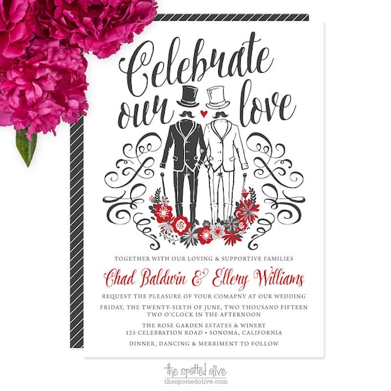 same sex gay wedding invitations diy printable or printed With free printable gay wedding invitations