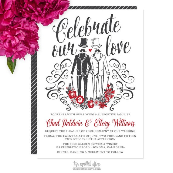 Same-Sex Gay Wedding Invitations - DIY Printable or Printed Invitations -Celebrate Our Love Gentlemen