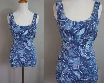 1950's Swimsuit // Blue Swirls // Small