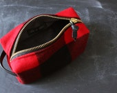 Fat Zipper Dopp Kit. Buffalo Plaid Wool