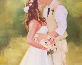Custom wedding portrait , custom wedding painting , modern portrait painting , custom oil painting , custom oil portrait,  oil on canvas