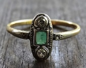 Art Deco Ladies Emerald and Diamond Trilogy Engagement Ring in Platinum and 18ct Yellow Gold FREE POSTAGE