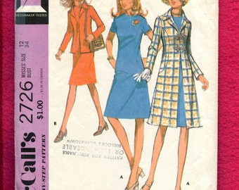 1970's McCalls 2726 Retro Stewardess Chic Dress & Matching A-Line Coat Size 12