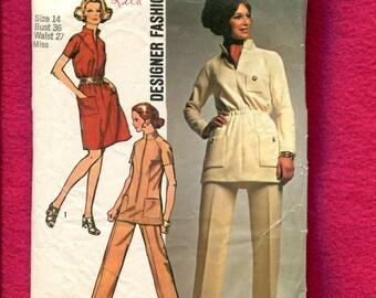 1970's Simplicity 8914 Safari Chic Star Trek Inspired Tunic or Dress Size 14
