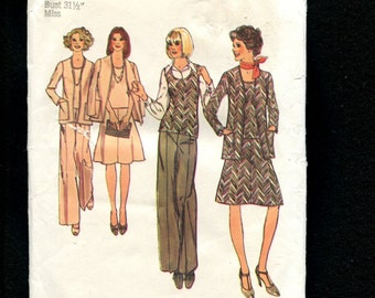 1970's Simplicity 6609 Retro Cardigan Jacket Tank Top Skirt & Pants Pattern Size 8 UNCUT